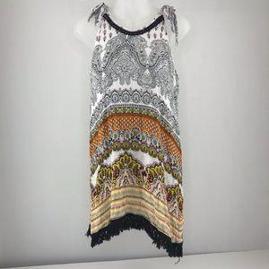 RAGA Boho Festival Tie Strap Fringe Tunic Dress